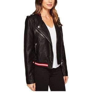 Blank Nyc Vegan Leather Elastic Band Moto Jacket